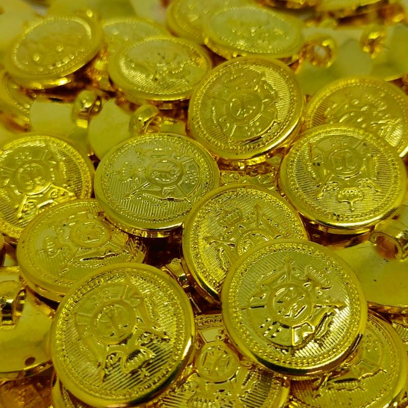 """Botão ABS Pezinho - Símbolo - Dourado - Modinha - Tam 24""""/15,24mm - C/144und"""