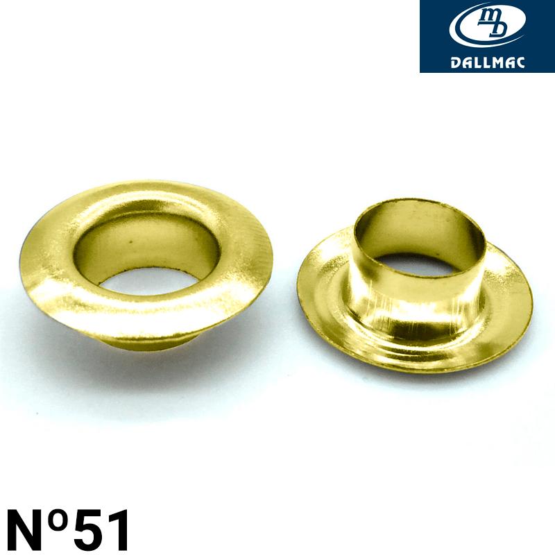 Ilhós de Latão - Dallmac - Nº51 - Latonado Dourado - C/1000und