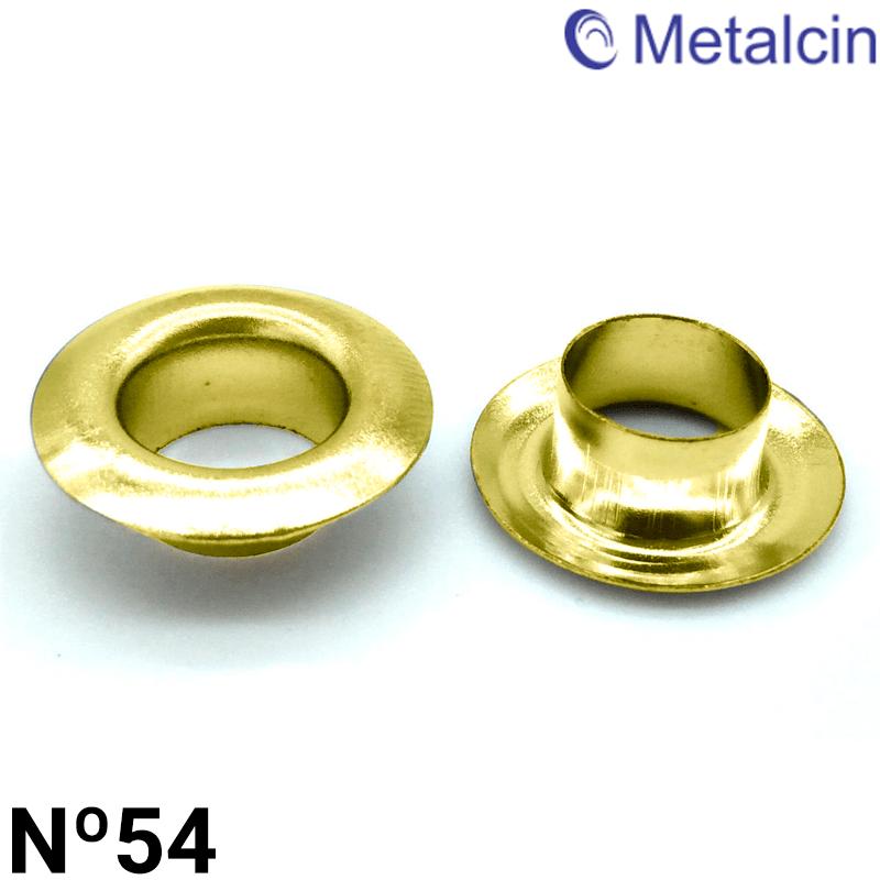 Ilhós de Latão - Metalcin - Nº54 - Latonado Dourado - C/1000und