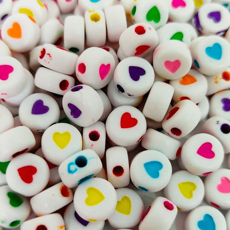 Miçanga Redonda Branca - Corações Coloridos Sortidos - 6mm - C/100g