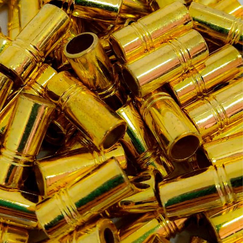 Ponteira Cilindro - Dourada - 20mm - C/100und