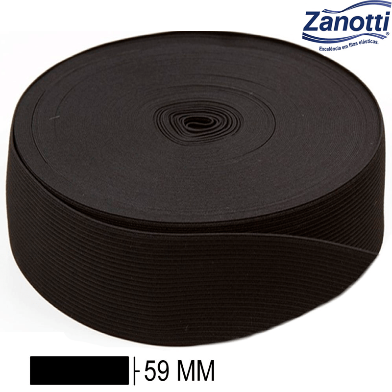 Elástico Chato Jaraguá 60 - Preto - Zanotti - 59mm - C/25M