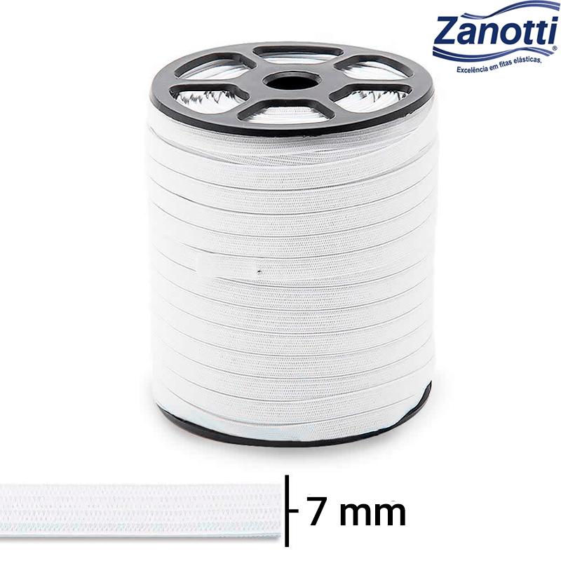 Elástico Chato Serval 10 - Branco - Zanotti - 7mm - C/100M