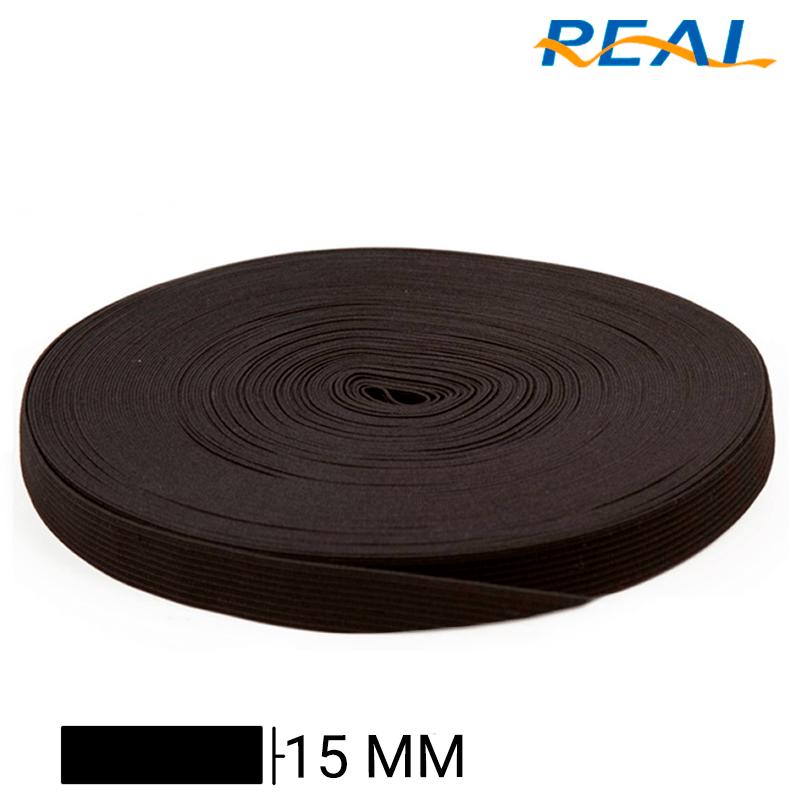 Elástico Chato Short Light - Preto - Real - 15mm - C/25m