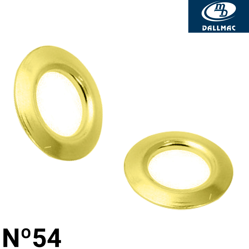 Arruela de Latão - Dallmac - N°54 - Latonado Dourado - C/1000und