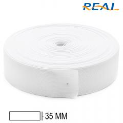 Elástico Chato Short Light - Branco - Real - 35mm - C/25m