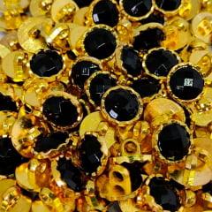 """Botão Abs Pezinho - Dourado com Preto - Tam 20""""/12,70mm - C/ 144und"""