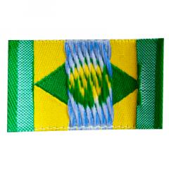 Etiqueta Bordada Bandeira do Brasil -  25x40mm - C/100und
