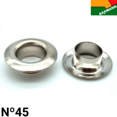 Ilhós de Alumínio - Braxmann - Nº45 - Niquelado Prata - C/1000und