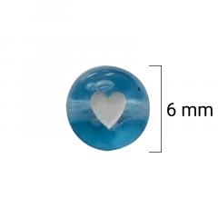 Miçanga Redonda Colorida - Coração Branco - 6mm - C/50g - Cód GXR-131