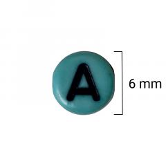 Miçanga Redonda Colorida - Letras Pretas Sortidas - 6mm - C/100g