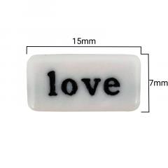 Miçanga Retangular Branca - Palavras Pretas Sortidas - 15mm - C/100g - Cód 150631