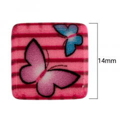 Ponteira Miçanga Quadrada - Borboletas Rosas -  14mm - C/ 20UND - Cód RO.150639