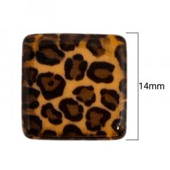Ponteira Miçanga Quadrada -  Onça Marrom -  14mm - C/ 20UND - Cód RO.150635