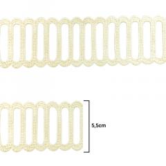 Renda Guipír - Marfim - 5,5cm - C/15j - Ref LA-706