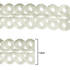 Renda Guipír - Cru - 7,5cm - C/15j - Ref LA-751