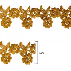 Renda Guipír - Ouro - 6cm - C/13,7m - Ref CHL-552