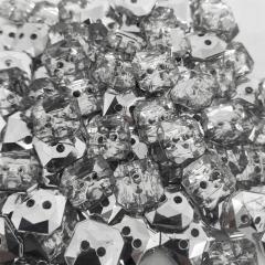 """Botão Hexagonal - Acrílico - 2 furos - Prata - Modinha - Tam 16""""/10,16mm - C/100und - Cód AC10700"""