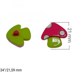 Botão Infantil - Cogumelo Rosa e Verde - c/50und