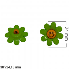 """Botão Infantil - Flor com rostinho - Tam 38""""/24,13mm - c/50und"""