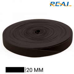 Elástico Chato Short Light - Preto - Real - 20mm - C/25m