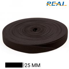 Elástico Chato Short Light - Preto - Real - 25mm - C/25m