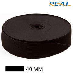 Elástico Chato Short Light - Preto - Real - 40mm - C/25m