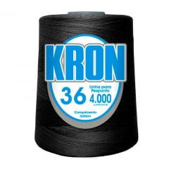 Linha para Pesponto fio 36 - Kron - PRETO -  4000 jardas