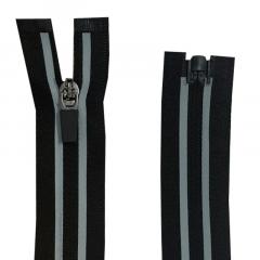 Zíper Nylon Fitness Invisível Destacável C/ Refletivo N#3 - Cursor emborrachado - 80cm