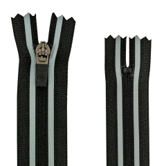 Zíper Nylon Fitness - Invisível - Fixo - Nº3 - Preto C/Refletivo - Cursor emborrachado - 18cm