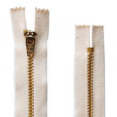 Zíper Metal Dourado Médio de Algodão - PT - Corrente - 8cm