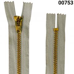 Zíper Metal Dourado Médio - Fixo - Nº3 - Corrente - 10cm