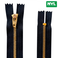 Zíper Metal Dourado Médio - Fixo - Nº3 - Flexnyl - 6cm