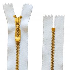Zíper Branco Metal Pingente Oval Dourado - Fixo - Nº3 - 15cm