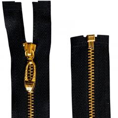 Zíper Preto Metal Pingente Oval Dourado - Destacável - Nº3 - 40cm