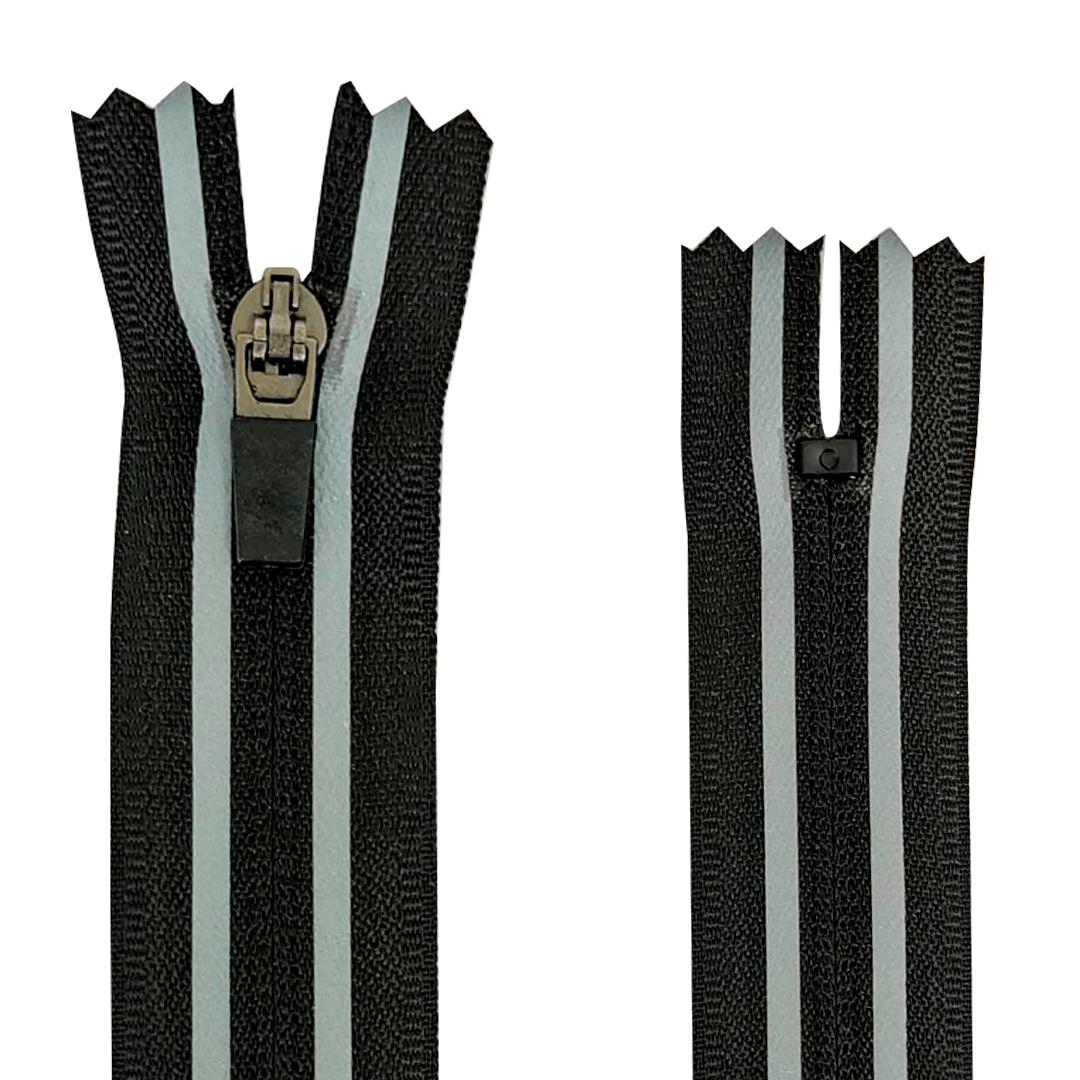 Zíper Nylon Fitness - Invisível - Fixo - Nº3 - Preto C/Refletivo - Cursor emborrachado - 15cm