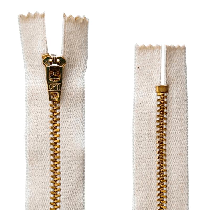 Zíper Metal Dourado Médio de Algodão - PT - Fixo - Nº3 - Corrente - 6cm