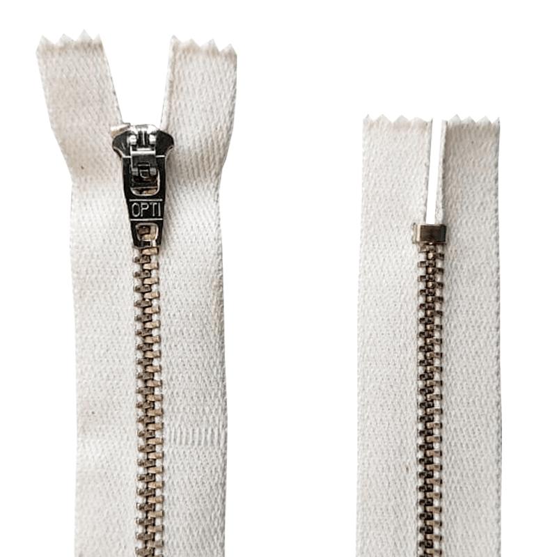 Zíper Metal Niquelado Médio de Algodão - PT - Fixo - Nº3 - Corrente - 15cm