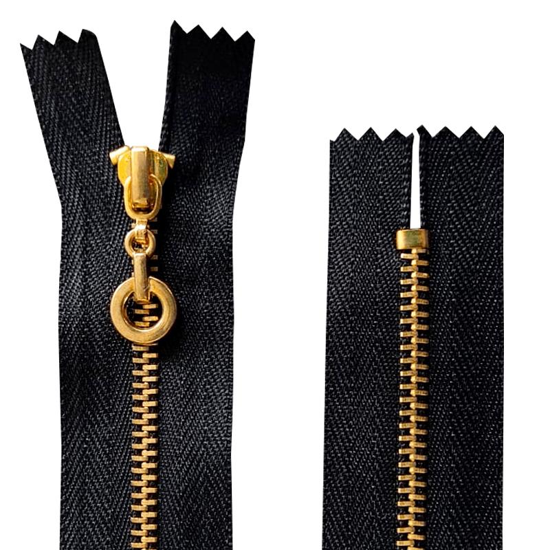Zíper Metal Pingente Bola - Dourado -  Fixo - 15 cm